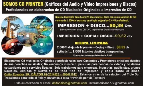 Copiado de cd e impresión y gratis 1.000 tarjetas presentacion en ...