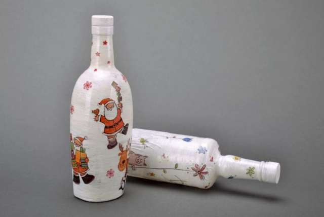 Botellas navide as vidrio imagui - Botellas decoradas navidenas ...