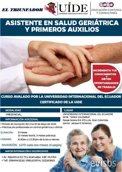 Curso asistente en salud geriátrica y primeros auxilios en Quito ...