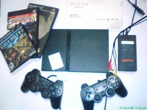 Playstation 2 slim con chip+ 1 memory de8mb+2controles+20juegos de los ultimos