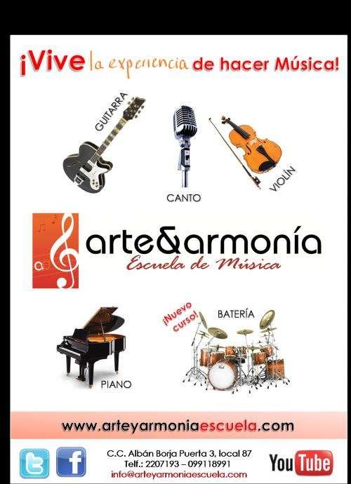Cursos de piano, guitarra, canto, batería y violín