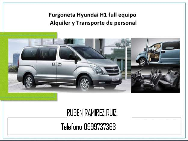 Alquilo furgoneta hyundai h1 2013 con dvd parrilla aire acondicionado