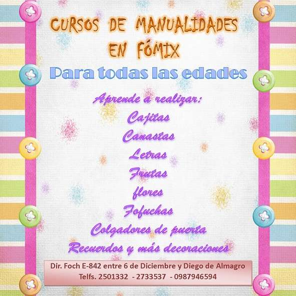 87a8f276740 Curso de manualidades en fómix en Quito - Cursos   Clases