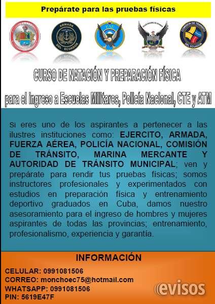 Curso de natación y preparación física para el ingreso a escuelas militares, policía naci