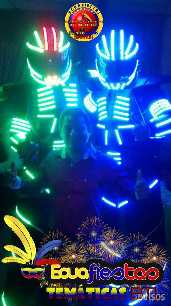 Ecuafiestas temáticas los únicos en guayaquil con el verdadero show de trajes led  dale un toque de elegancia y distinción a tu fiesta o evento social. un show de calidad, con ritmo, luces laser, colores, luces frias.  show de trajesd led láser y pirotecn
