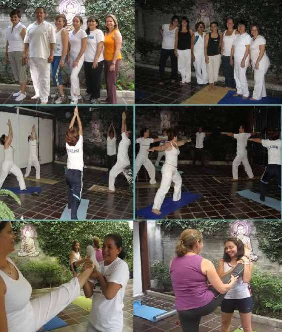 Collage de fotos de integrantes de yoga namastè en los ceibos.