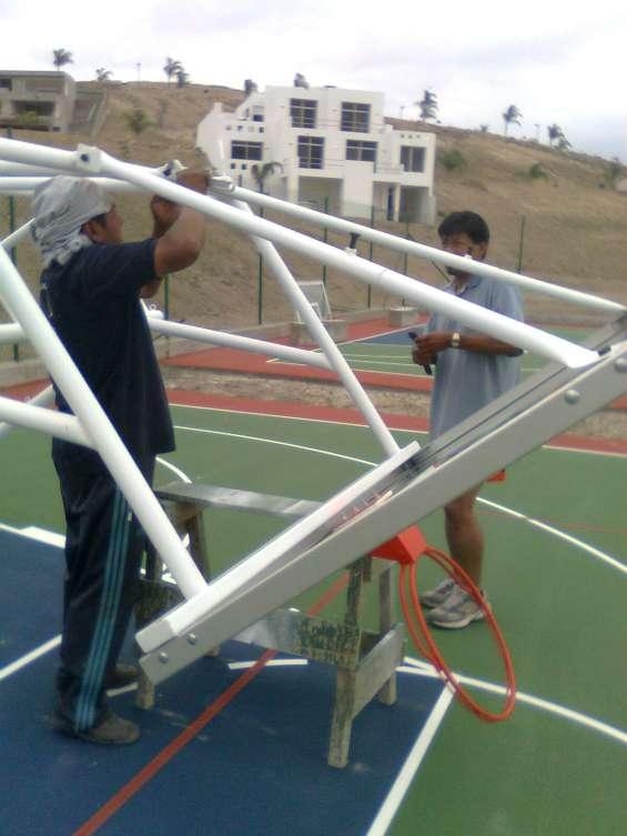 Tablero mixto de basquet movibles con vidrio templado ecuador